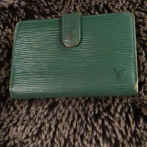 LV French green epi leather wallet